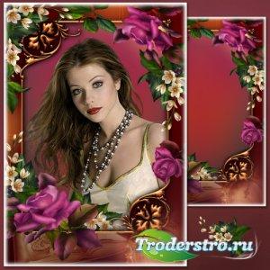 Цветочная рамка для фото с роскошными розами - Нежный пурпур