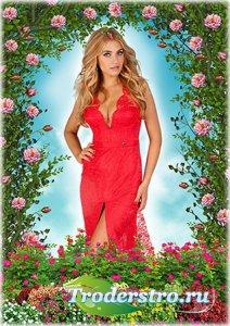 Женская рамка для фотошопа - Летний сад