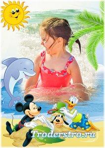 Рамка psd для детской фотографии - Мультяшки на море