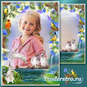 Летняя рамка с зайцами - Лесной паводок